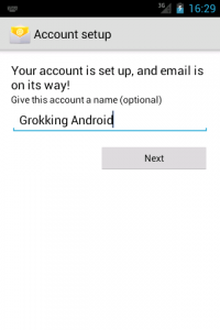 Account setup - Setting the name of the account