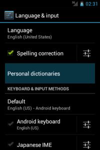 Language & input settings