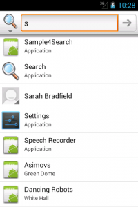 Global search suggestions showing results of the sample app