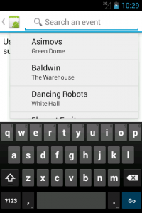 Search suggestions of the sample app