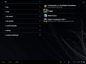 Quick Search box search results on a tablet