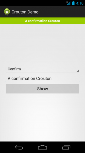A confirmation Crouton