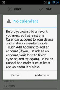 Warning when no calendar account exists