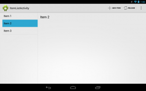 Action bar with multiple icons and text running on a 4.2 tablet