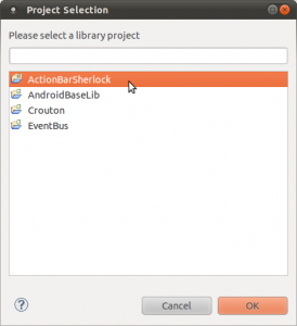 Select ActionBarSherlock from the list of libraries