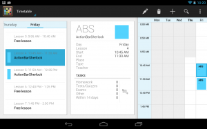 Timetable app showing action items of multiple fragments