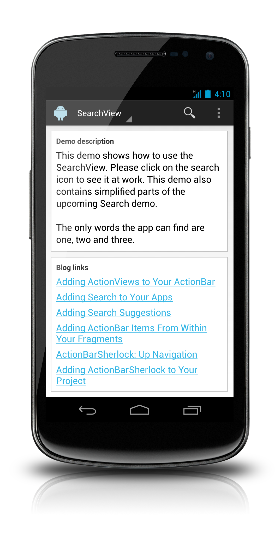 Actionviews sample app is on bitbucket dzone mobile Iplan app