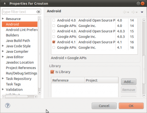 Project settings in Eclipse for the Crouton library project