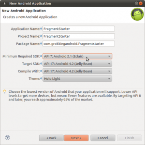 Android Developer Tools project wizard