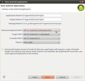 Switch to API level 11 in the project wizard