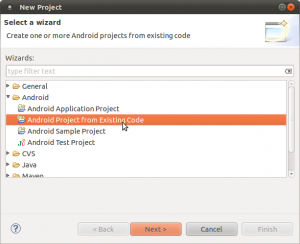 Creating an Adnroid project from existing source