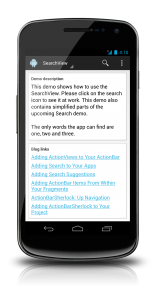 The demo app showing the SearchView in its collpased mode